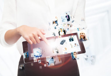 Close-up of a tablet pc and many digital icons