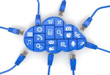 Ñloud computing concept. Application of software and internet cables. 3d