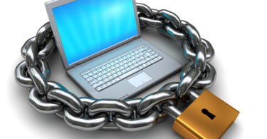 abstract 3d illustration of laptop protected by chain and padlock